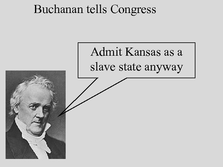 Buchanan tells Congress Admit Kansas as a slave state anyway