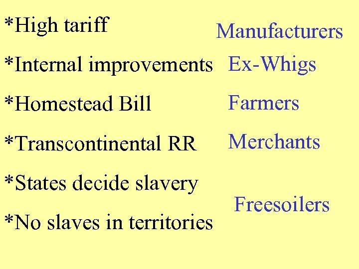 *High tariff Manufacturers *Internal improvements Ex-Whigs *Homestead Bill Farmers *Transcontinental RR Merchants *States decide
