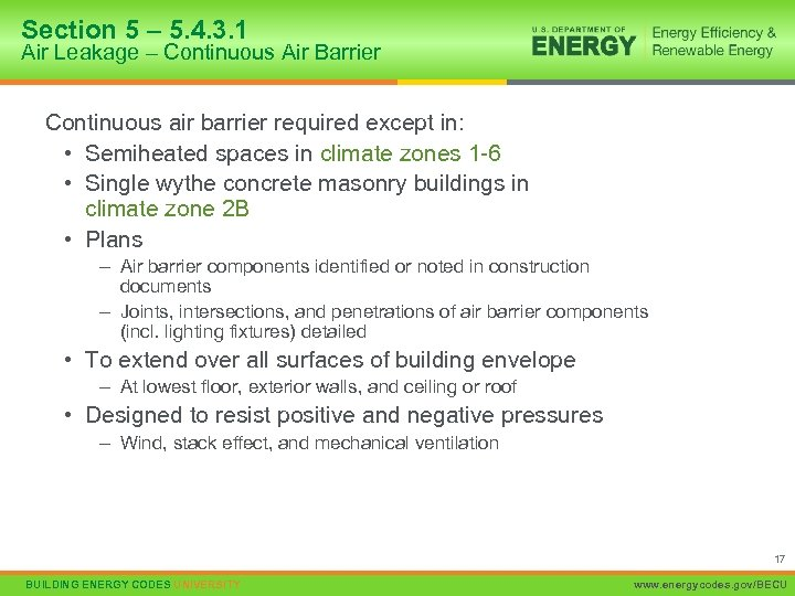 Section 5 – 5. 4. 3. 1 Air Leakage – Continuous Air Barrier Continuous