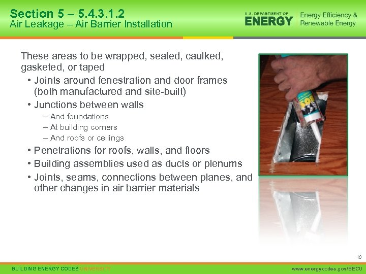 Section 5 – 5. 4. 3. 1. 2 Air Leakage – Air Barrier Installation