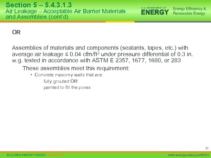 Section 5 – 5. 4. 3. 1. 3 Air Leakage – Acceptable Air Barrier