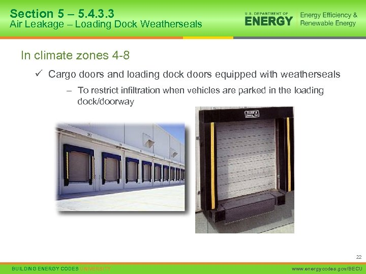 Section 5 – 5. 4. 3. 3 Air Leakage – Loading Dock Weatherseals In