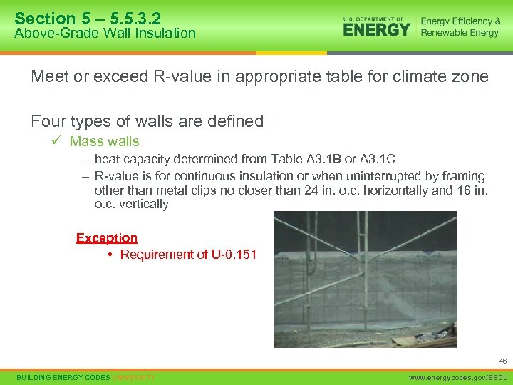 Section 5 – 5. 5. 3. 2 Above-Grade Wall Insulation Meet or exceed R-value