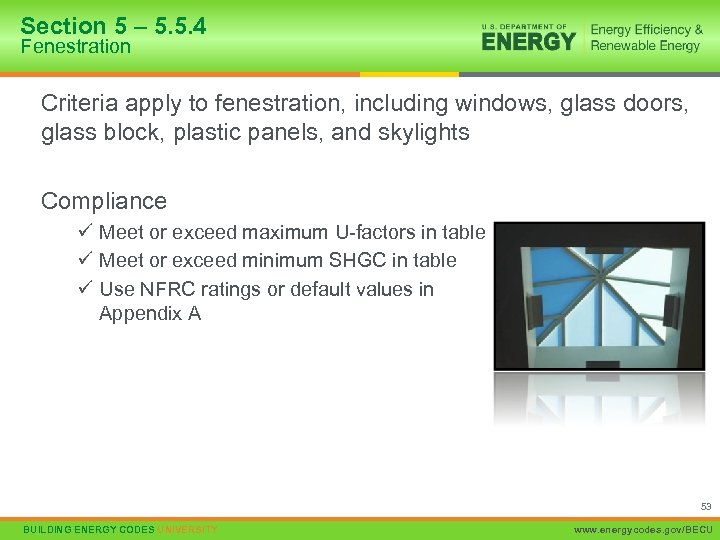 Section 5 – 5. 5. 4 Fenestration Criteria apply to fenestration, including windows, glass