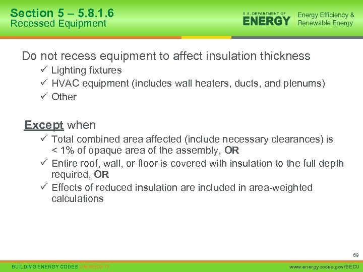 Section 5 – 5. 8. 1. 6 Recessed Equipment Do not recess equipment to