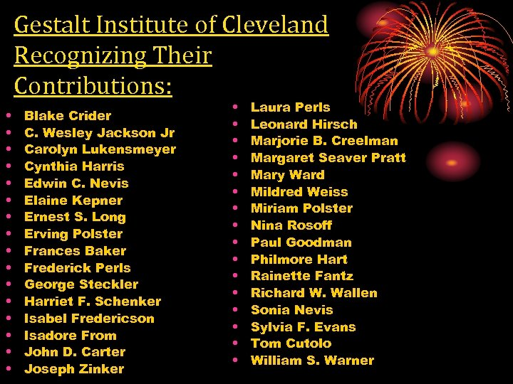 Gestalt Institute of Cleveland Recognizing Their Contributions: • • • • Blake Crider C.