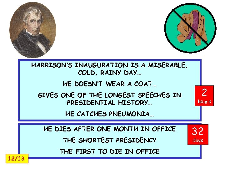 HARRISON'S INAUGURATION IS A MISERABLE, COLD, RAINY DAY… HE DOESN'T WEAR A COAT… GIVES