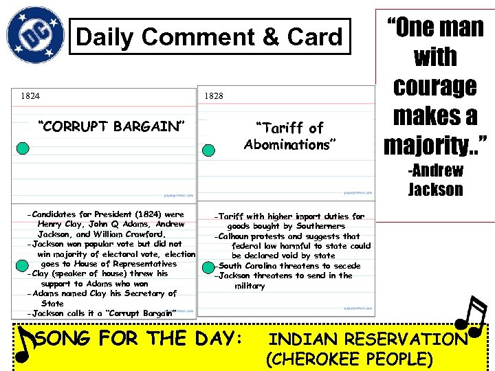 """Daily Comment & Card 1824 1828 """"CORRUPT BARGAIN"""" """"Tariff of Abominations"""" """"One man with"""