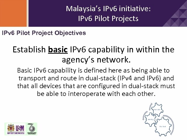 Malaysia's IPv 6 initiative: IPv 6 Pilot Projects IPv 6 Pilot Project Objectives Establish