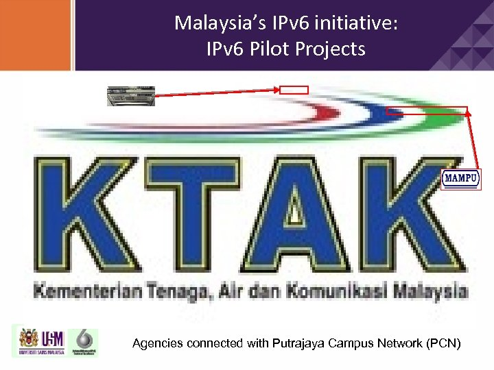 Malaysia's IPv 6 initiative: IPv 6 Pilot Projects Agencies connected with Putrajaya Campus Network