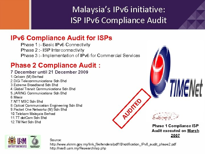 Malaysia's IPv 6 initiative: ISP IPv 6 Compliance Audit for ISPs Phase 1 :