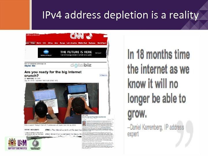IPv 4 address depletion is a reality