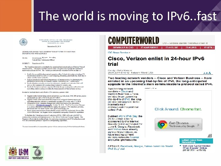 The world is moving to IPv 6. . fast