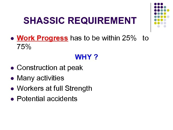 SHASSIC REQUIREMENT l l l Work Progress has to be within 25% to 75%