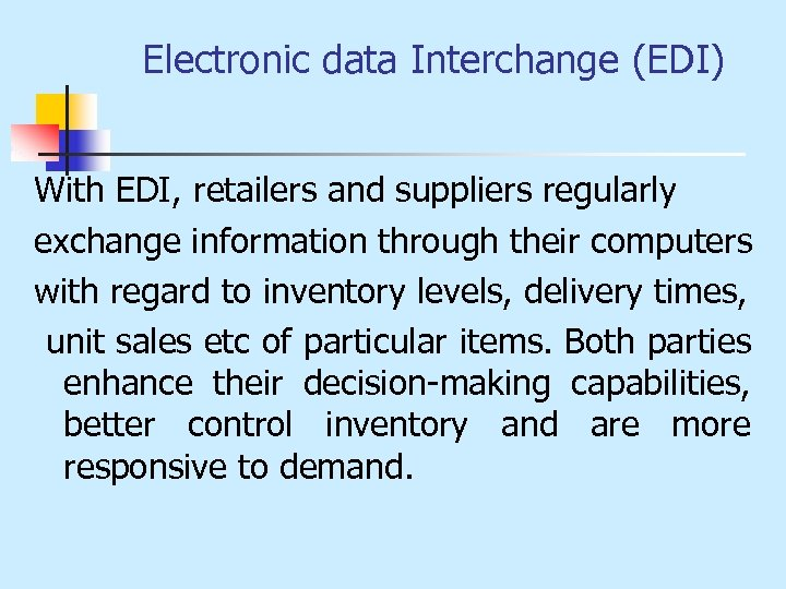 THE RETAIL INFORMATION SYSTEM A Retail Information