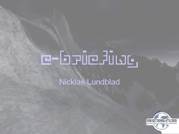 E-briefing Nicklas Lundblad