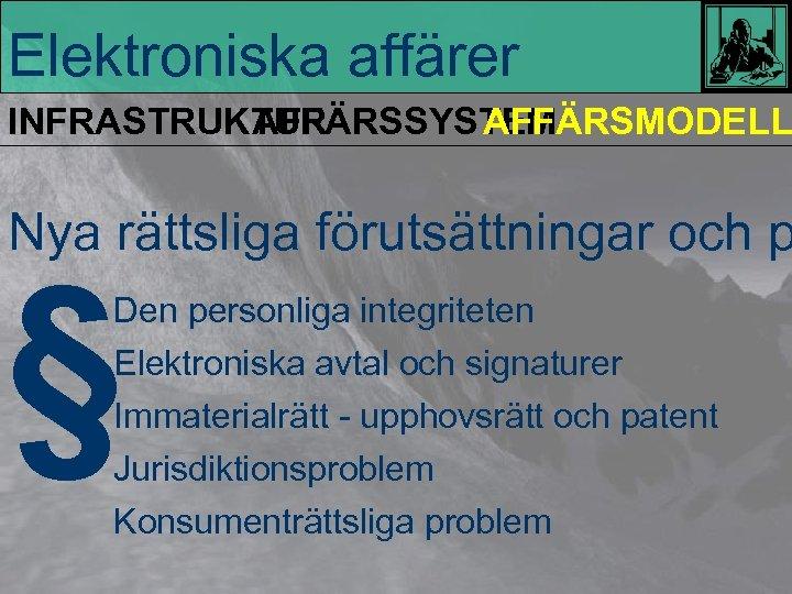 Elektroniska affärer INFRASTRUKTUR AFFÄRSSYSTEM AFFÄRSMODELL Nya rättsliga förutsättningar och p § Den personliga integriteten