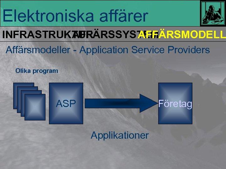 Elektroniska affärer INFRASTRUKTUR AFFÄRSSYSTEM AFFÄRSMODELL Affärsmodeller - Application Service Providers Olika program ASP Företag