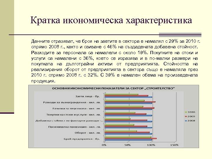 Кратка икономическа характеристика Данните отразяват, че броя на заетите в сектора е намалял с
