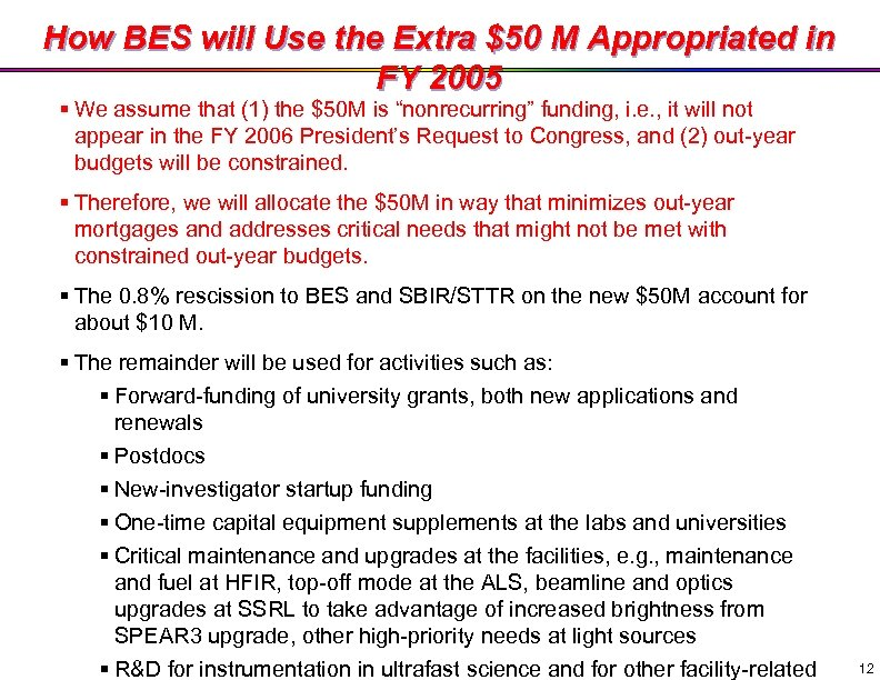 How BES will Use the Extra $50 M Appropriated in FY 2005 § We