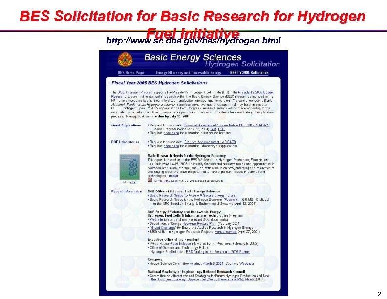 BES Solicitation for Basic Research for Hydrogen Fuel Initiative http: //www. sc. doe. gov/bes/hydrogen.