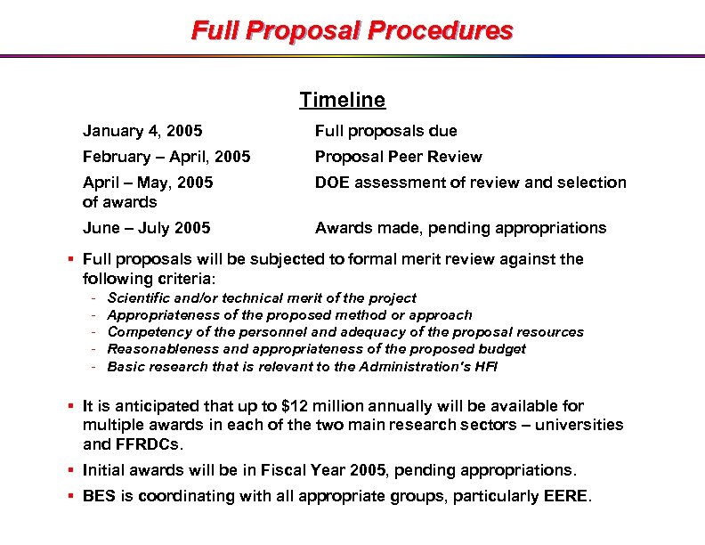 Full Proposal Procedures Timeline January 4, 2005 Full proposals due February – April, 2005