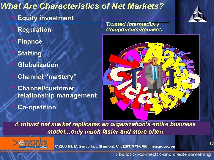 What Are Characteristics of Net Markets? t Equity investment t Regulation Trusted Intermediary Components/Services