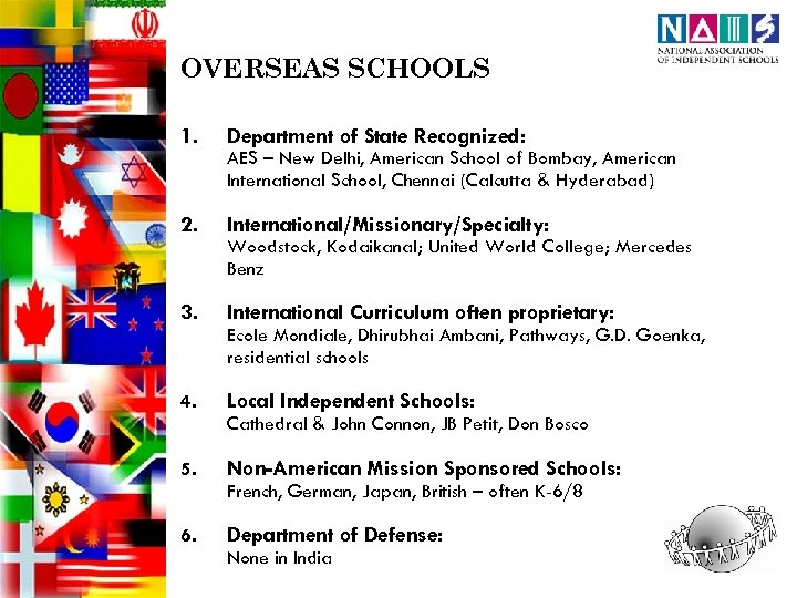 OVERSEAS SCHOOLS 1. Department of State Recognized: 2. International/Missionary/Specialty: 3. International Curriculum often proprietary: