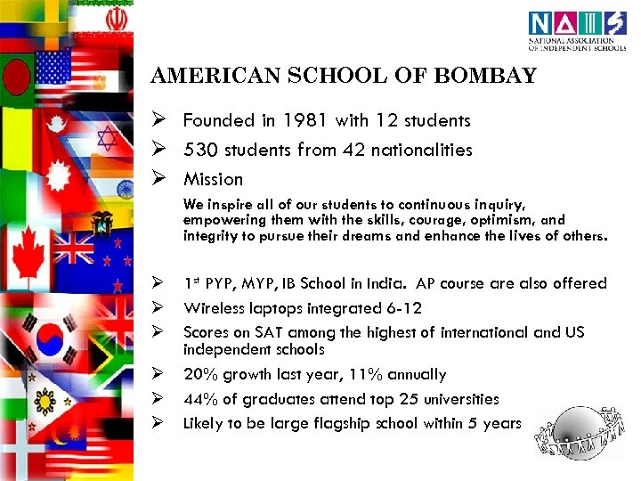 AMERICAN SCHOOL OF BOMBAY Ø Founded in 1981 with 12 students Ø 530 students