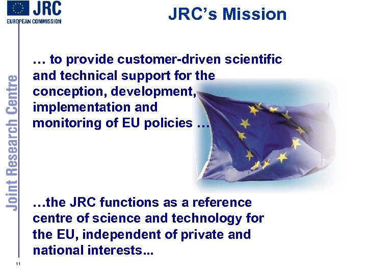 JRC's Mission … to provide customer-driven scientific and technical support for the conception, development,