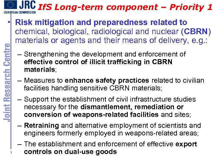 If. S Long-term component – Priority 1 • Risk mitigation and preparedness related to