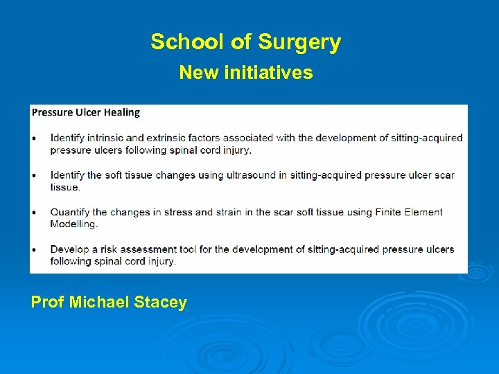 School of Surgery New initiatives Prof Michael Stacey