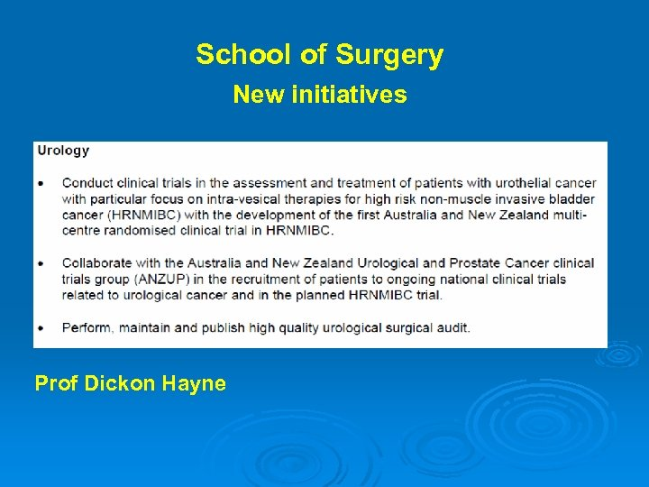 School of Surgery New initiatives Prof Dickon Hayne