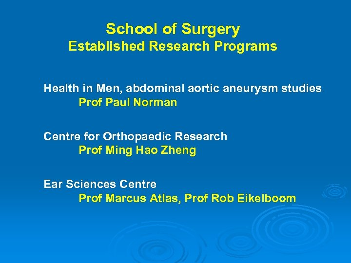 School of Surgery Established Research Programs Health in Men, abdominal aortic aneurysm studies Prof