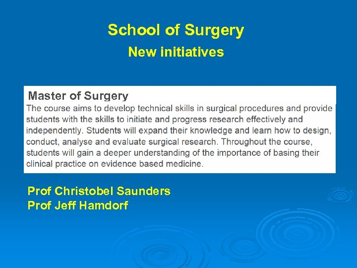 School of Surgery New initiatives Master of Surgery Prof Christobel Saunders Prof Jeff Hamdorf