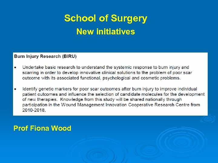 School of Surgery New initiatives Prof Fiona Wood