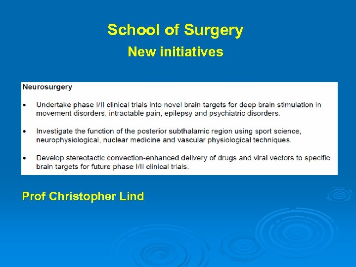School of Surgery New initiatives Prof Christopher Lind