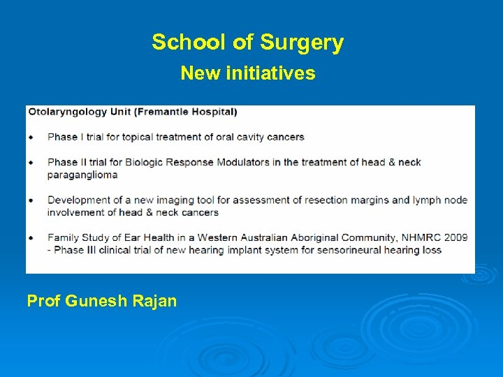 School of Surgery New initiatives Prof Gunesh Rajan
