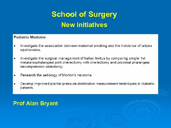 School of Surgery New initiatives Prof Alan Bryant