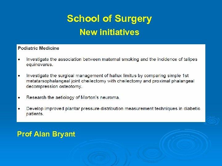 School of Surgery New initiatives Prof Alan Bryant