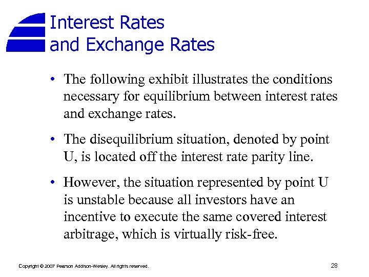 Interest Rates and Exchange Rates • The following exhibit illustrates the conditions necessary for