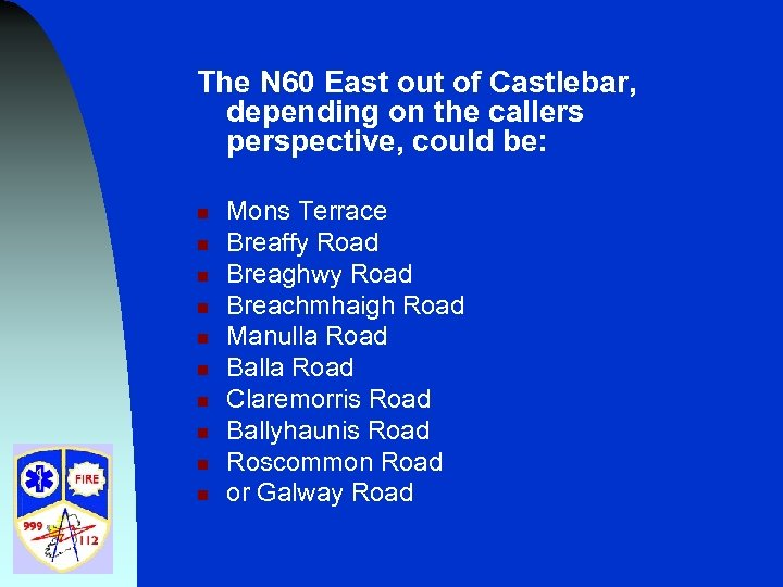 The N 60 East out of Castlebar, depending on the callers perspective, could be: