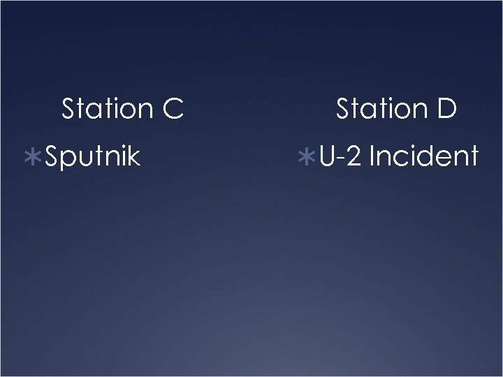 Station C ÜSputnik Station D ÜU-2 Incident