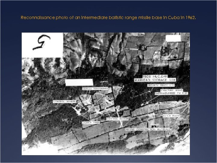 Reconnaissance photo of an intermediate ballistic range missile base in Cuba in 1962.