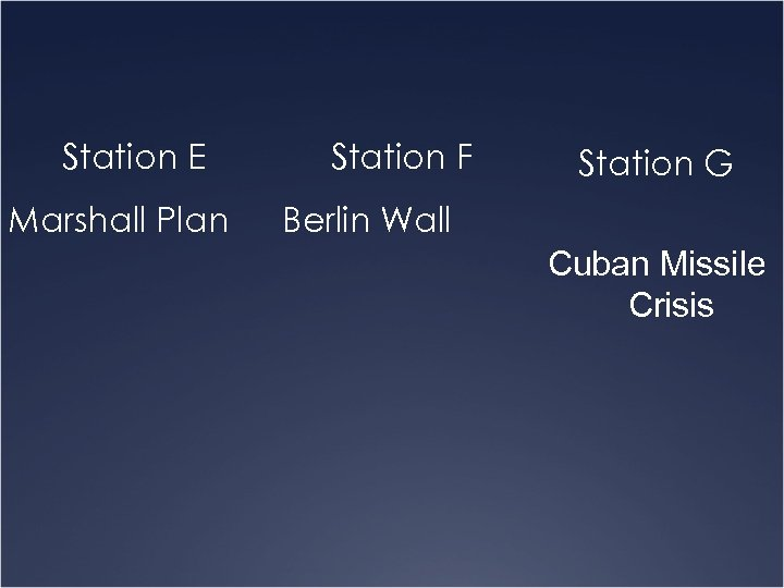 Station E Marshall Plan Station F Station G Berlin Wall Cuban Missile Crisis