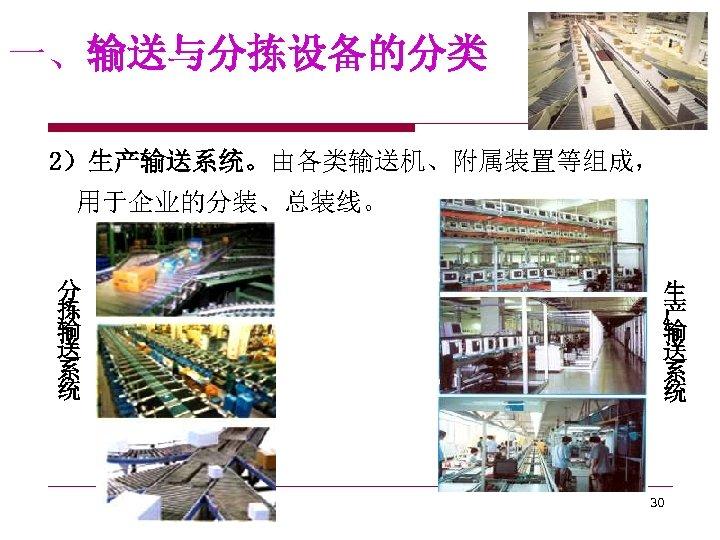 一、输送与分拣设备的分类 2)生产输送系统。由各类输送机、附属装置等组成, 用于企业的分装、总装线。 分 拣 输 送 系 统 生 产 输 送 系