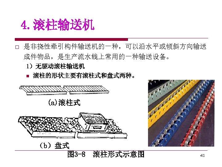 4. 滚柱输送机 o 是非挠性牵引构件输送机的一种,可以沿水平或倾斜方向输送 成件物品,是生产流水线上常用的一种输送设备。 1)无驱动滚柱输送机 n 滚柱的形状主要有滚柱式和盘式两种。 (a)滚柱式 (b)盘式 图 3 -8 滚柱形式示意图