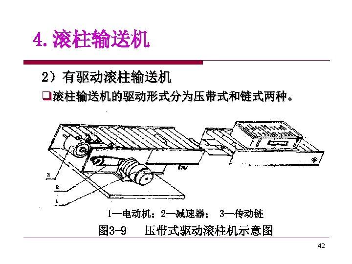 4. 滚柱输送机 2)有驱动滚柱输送机 q滚柱输送机的驱动形式分为压带式和链式两种。 1—电动机; 2—减速器; 3—传动链 图 3 -9 压带式驱动滚柱机示意图 42