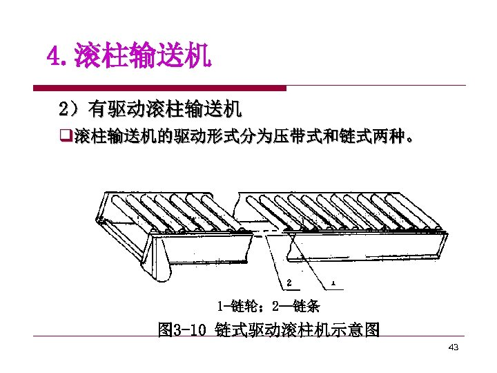 4. 滚柱输送机 2)有驱动滚柱输送机 q滚柱输送机的驱动形式分为压带式和链式两种。 1 -链轮; 2—链条 图 3 -10 链式驱动滚柱机示意图 43