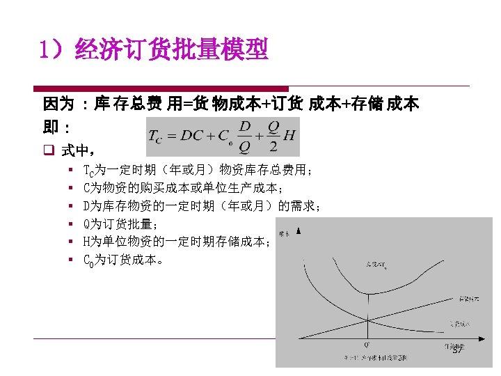 1)经济订货批量模型 因为 :库 存总费 用=货 物成本+订货 成本+存储 成本 即: q 式中, § § §